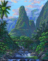Iao Needle Maui Painting Picture Hawaii