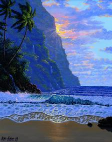 picture image of Hawaiian beach sunset Hawaii painting art