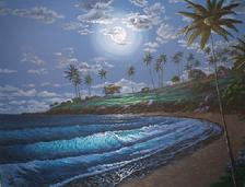 Kapalua Bay Moon, Maui, hawaii painting picture
