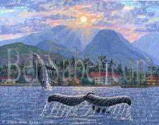 Painting # 58 Lahaina Harbor & Whales. Original acrylic on canvas board 11x14 inches.$495 SOLD