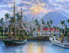 Painting # 28-B Lahaina Harbor Sunrise. Original acrylic painting on canvas board 11x14 inches $995 SOLD
