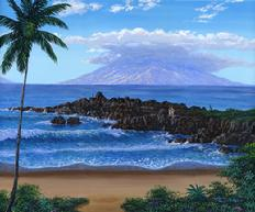 Nahuna point, five graves, Maui, Hawaii. Original Painting of a popular diving snorkling area.