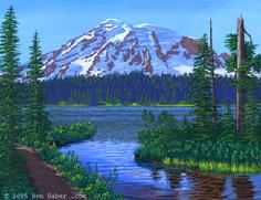 Mt rainier painting reflection lake