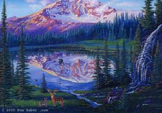 Mt rainier carbon glacier washington painting