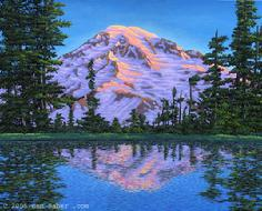 mt rainier washington lake reflection snow sunrise