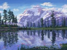 Mt Shuksan from picture lake washington art painting