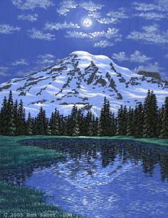 Mount Rainier painting at night moon light lake
