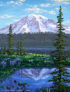 Mt rainier reflction lake medow flowers sunset
