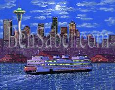 Seattle skyline ferry painting night lights water front picture