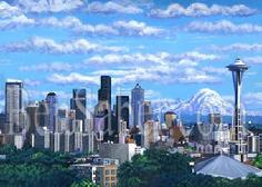 downtown seattle queen ann hill mount rainier space needle skyline painting picture