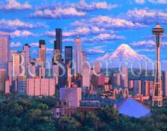 seattle space needle mt rainier painting picture queen ann hill view
