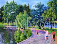 greenlake painting green lake picture seattle art jogger path
