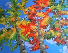 aspen trees painting picture image