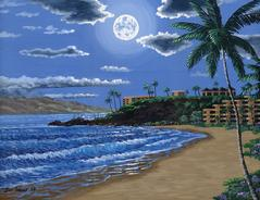 black rock kaanapali beach   painting art print canvas picture moon light