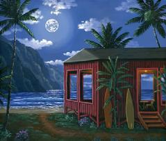 Hawaiian beach cabin house night moon painting picture