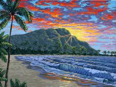 Diamond Head Waikiki Beach Painting