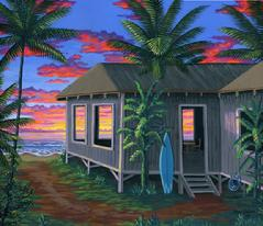 Hawaiian beach cabin sunset painting photo image