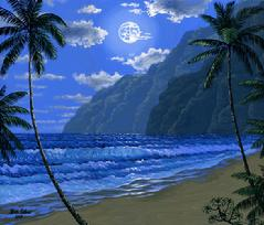 Hawaiian beach Moon mountain painting picture image