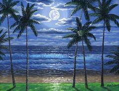 palm trees painting Maui Hawaii