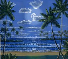 tropical beach night moon lit palm trees painting picture