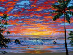 Hawaii beach sunset painting picture hawaiian tropical