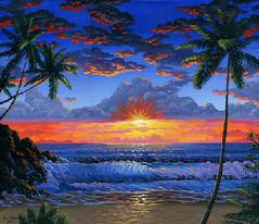 Hawaiian beach sunset painting picture