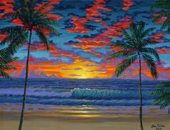 Tropical hawaiian hawaii beach sunset painting picture