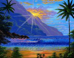 Hawaii Beach Sunset Painting Maui Hawaii