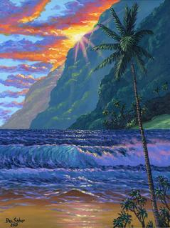 Beach Sunset Painting Maui Hawaii