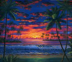 Hawaiian beach sunset palm trees hawaii painting picture