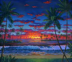 Hawaiian beach sunset hawaii palm trees painting picture