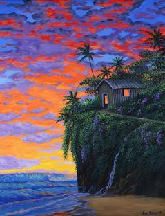 Hawiian cabin painting beach sunset
