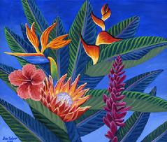 Hawaiian Flowers painting picture tropical bouquet