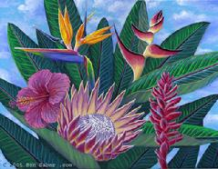 Hawaiian Flowers Painting Art Picture Maui Hawaii