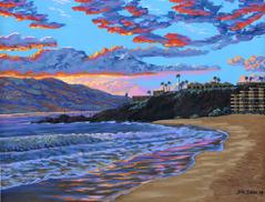 black rock kaanapali beach   painting art print canvas picture
