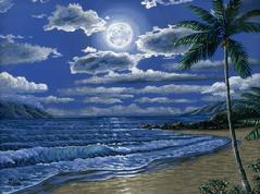 black rock moon night painting picture kaanapali maui hawaii