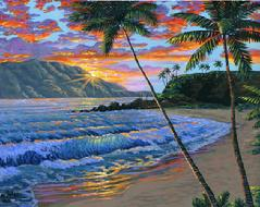 black rock kaanapali maui hawaii painting picture sunset