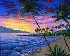 Kapalua beach Maui Sunset Hawaii bay painting picture image