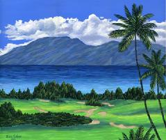 Kapalua Golf Course, Maui Hawaii painting picture image