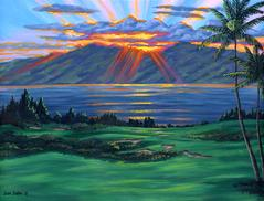 Kapalua Golf course painting picture Maui Hawaii