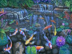 Koi fish pond original acrylic painting on canvas 24 x 36 inches for sale available