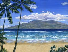 Lahaina beach maui lanai painting picture palm tree