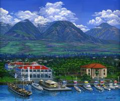 lahaina harbor aerial Pioneer Inn Old Courthouse Carthagenian Maui Mountains boats Picture Painting