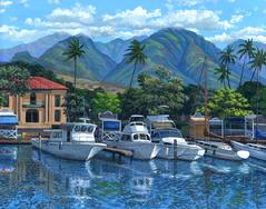 Lahaina Harbor Morning painting picture west maui mountains courthouse