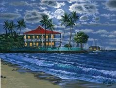 Lahaina beach night painting picture
