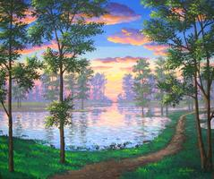 Nature Trail lake painting sunset picture image