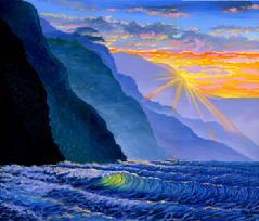 Napali Coast, Kauai sunset painting picture hawaii