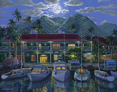 Pioneer Inn Moon hotel Lahaina Maui Hawaii painting picture