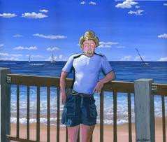 portrait man painting acrylic lahaina beach