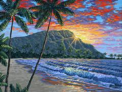Diamond head Hawaii painting picture oahu sunset